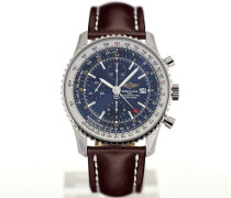 Navitimer World 46 Chronograph Blue Dial Brown Leather Strap Buckle A2432212/C651/443X/A20BA.1