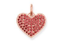Anhänger Herz Rotes Pavé mit Gravur, Sterlingsilber Roségold vergoldet, Love Bridge