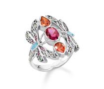 Ring, 925 Sterlingsilber geschwärzt/ Glas-Keramik Stein/ Kaltemail/ synthetischer Korund/ Zirkonia, Glam & Soul