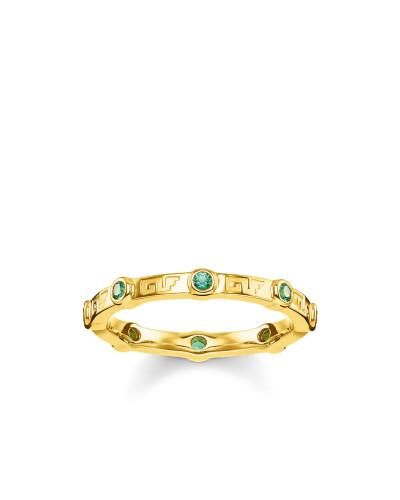 Ring, 925 Sterlingsilber, vergoldet Gelbgold/ Glas-Keramik Stein, Glam & Soul