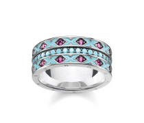 Ring, 925 Sterlingsilber geschwärzt/ Glas-Keramik Stein/ Kaltemail/ synthetischer Korund, Glam & Soul