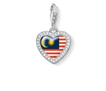 """Damen Charm-Anhänger """"Herz Flagge Malaysia"""", Sterlingsilber,"""