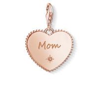 "Charm-Anhänger ""Herz Mom rosegold"" mit Gravur, Sterlingsilber Roségold vergoldet"