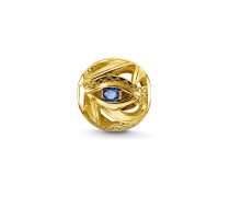 """Unisex Bead """"Auge des Horus"""", Sterlingsilber Gelbgold vergoldet, Karma Beads"""