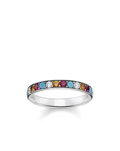 Ring, 925 Sterlingsilber, geschwärzt/ Glas-Keramik Stein/ synthetischer Korund/ Zirkonia, Glam & Soul
