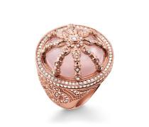 Damen Ring, Sterlingsilber Roségold vergoldet, Karma Beads