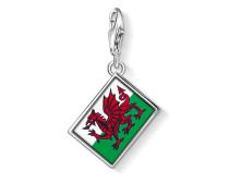Damen Charm Flagge Wales, Sterlingsilber,