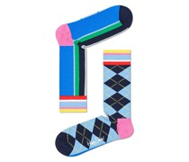 Half/half Argyle and Stripe Socke