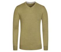 Pullover, V-Ausschnitt mit Patch in Gruen für Herren