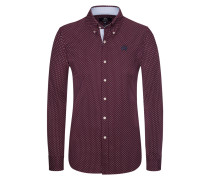Casualhemd, Slim Fit in Bordeaux für Herren
