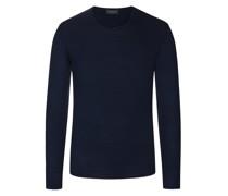 Leichter Pullover mit Rollkante, 100% Merinowolle Marine
