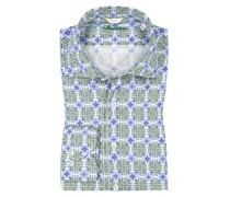 Leinenhemd im Allover-Print, Slimline Gruen