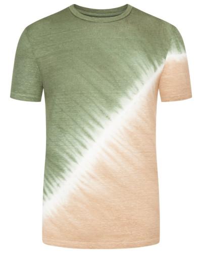 T-Shirt in feiner Leinenstruktur, Batik-Optik in Tanne