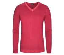 Pullover, V-Ausschnitt mit Alcantara Patch in Rot für Herren