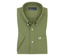 Kurzarmhemd mit BrusttascheButton-Down Oliv