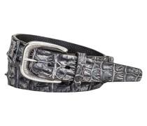 Gürtel aus Krokodilleder Anthrazit