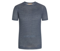 T-Shirt aus 100% LeinenNatural-Stretch Marine