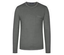 Leichter Pullover mit Brusttasche100% Merinowolle Anthrazit