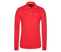 Poloshirt, Slim Fit, Langarm in Rot für Herren