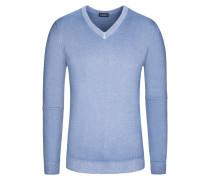 Pullover, V-Ausschnitt mit Alcantara Patch in Blau für Herren