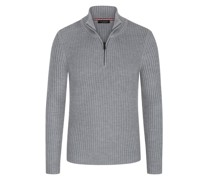 Pullover mit Troyer-Formmit Perlstrick-Muster Hell