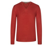 Pullover Merino-Qualitätmit Ellenbogenpatches Rost