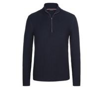 Pullover mit Troyer-Form, mit Perlstrick-Muster Marine