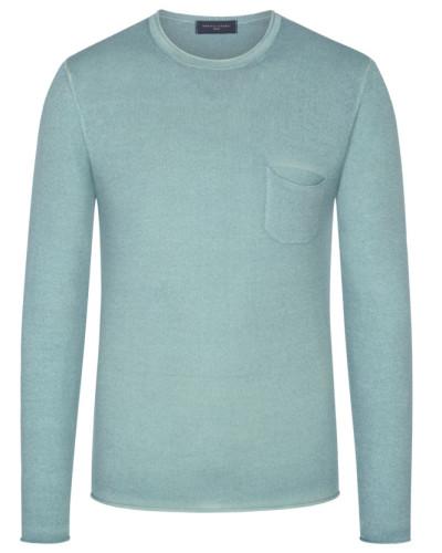 Leichter Pullover mit Brusttasche, 100% Merinowolle in Mint