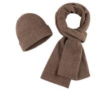 Schal und Mütze, Set in Braun für Herren