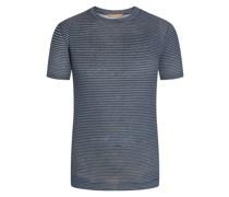 T-Shirt aus 100% LeinenNatural-Stretch Marine