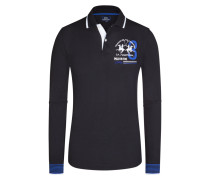 Poloshirt, Langarm in Schwarz für Herren