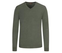 Leichter Merino-Pullover mit Ellenbogenpatches Gruen