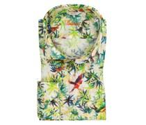 Leinenhemd mit modischem MusterFitted Body Gruen