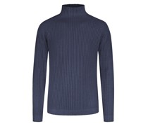 Pullover mit Stehkragenreine Merinowolle Marine