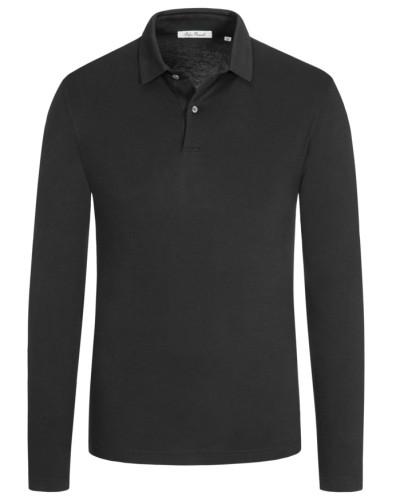 Poloshirt aus reiner Pima-Baumwolle, langarm in Schwarz