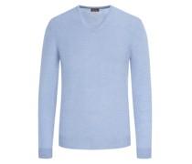 Leichter Merino-Pullover mit Ellenbogenpatches Hell