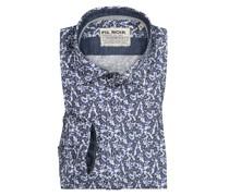 Freizeithemd im Minimalprint, Shaped Fit