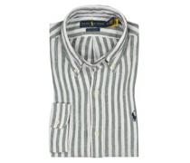 Leinenhemd mit Streifen, Custom Fit Oliv