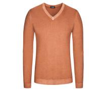 Pullover, V-Ausschnitt mit Alcantara Patch in Orange für Herren