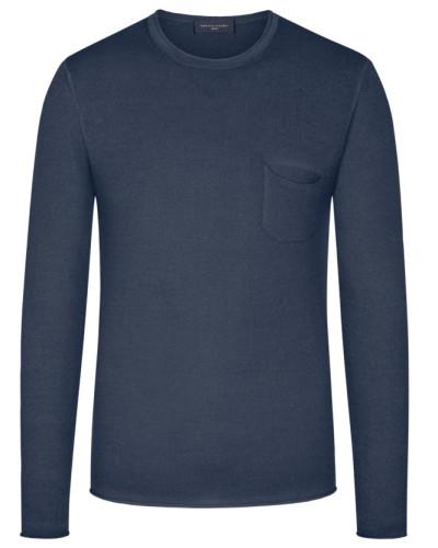 Leichter Pullover mit Brusttasche, 100% Merinowolle in Marine