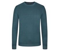 Leichter Wollpullover hochwertiger Merino-Qualität, Vintage-Optik Petrol