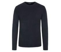 Pullover im Baumwollmix, Bouclé-Optik Marine