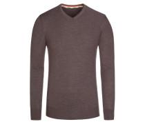 Pullover, V-Ausschnitt mit Patch in Braun für Herren