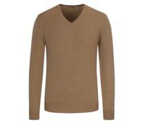 Leichter Merino-Pullover mit Ellenbogenpatches Taupe