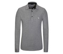 Poloshirt, Langarm in Grau für Herren