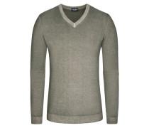 Pullover, V-Ausschnitt mit Alcantara Patch in Gruen für Herren