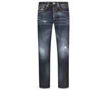 Jeans im Destroyed-Look Marine