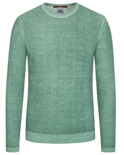 Pullover, O-Neck, in meliertem Design in Gruen