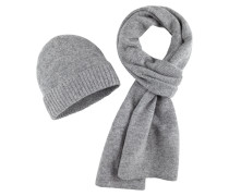 Schal und Mütze, Set in Grau für Herren