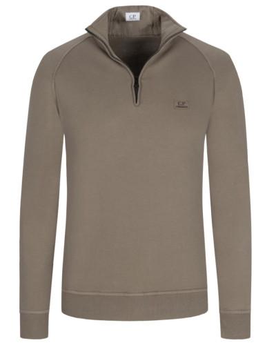 Sweatshirt mit Troyer-Kragen in Oliv